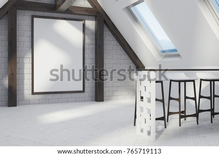 Attic Dining Room Interior With A White Wooden Floor Windows In The Roof