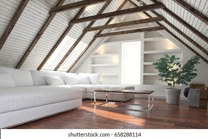 Attic living room concept with big white couch and potted indoor plant - minimalist interior design. 3d rendering