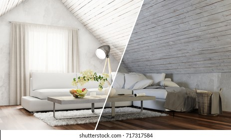 Attic living room interior design day and night concept (3D Rendering)