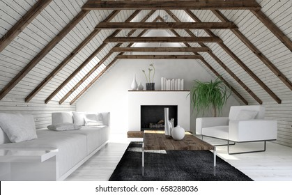 Attic living room in minimalist interior design with white sofa, fireplace and coffee table. 3d rendering