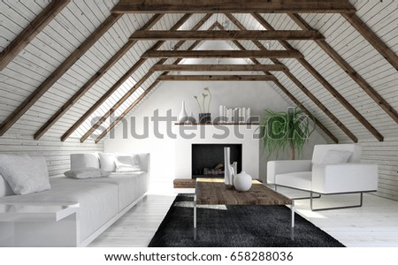 Attic living room in minimalist interior design with white sofa fireplace and coffee table. & Attic Living Room Minimalist Interior Design Stock Illustration ...
