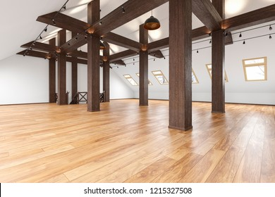 Attic loft open space empty interior with beams, windows, stairway, wooden floor. 3d render illustration mock up.