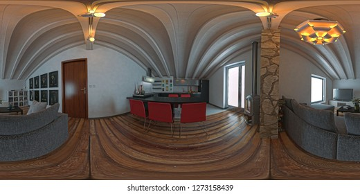 Attic studio apartment, kitchen with wooden ceiling, Pano VR image, spherical image, hdri,  3d illustration