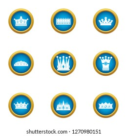 Attire crown icons set. Flat set of 9 attire crown icons for web isolated on white background