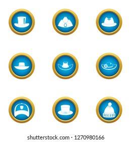 Attire icons set. Flat set of 9 attire icons for web isolated on white background