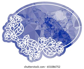 Attractive background with mosaic pattern. Decorative oval frame. Copy space. Raster clip art.