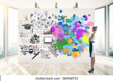 Attractive businesswoman in clean room with city view looking at whiteboard with colorful sketch. Creative and analytical thinking concept. 3D Rendering