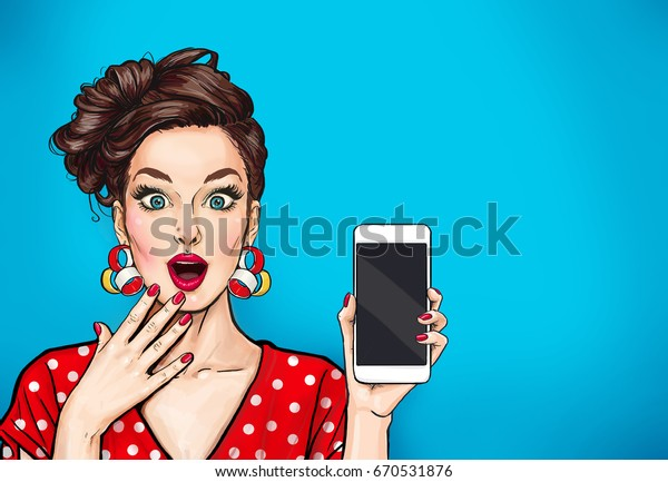 Attractive sexy girl with phone in the hand in comic style. Pop art woman holding smartphone. Digital advertisement female model showing the message or new app on cellphone.