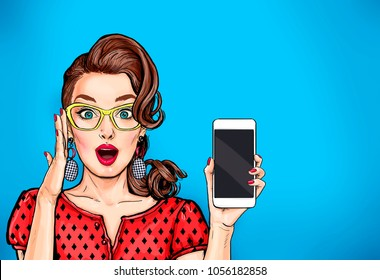Attractive sexy girl in specs with phone in the hand in comic style. Pop art woman holding smartphone. Digital advertisement female model showing the message or new app on cellphone.