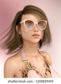 Attractive woman in bikini with sunglasses and tattoo Computer generated 3D illustration