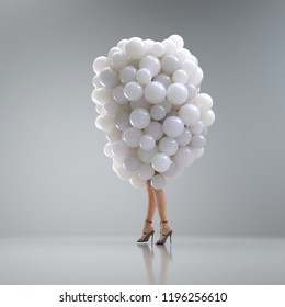 attractive woman in a bunch of balloons, 3d illustration