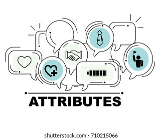 Attributes icons set for business illustration design