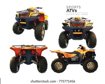 ATVs on a white background. 3d renderring and illustration. Clipping path.
