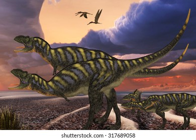 Aucasaurus Dinosaurs - Parental Aucasaurus dinosaurs defend their youngsters from a passing predator in their territory as Zhenyuanopterus reptile birds fly nearby.
