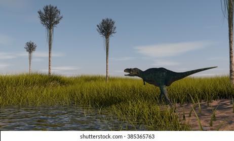aucasaurus in swamp grass