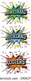 Auckland, Algiers and Ahmedabad Comic Text Set in Pop Art Style Isolated on White Background.