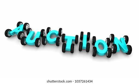 Auction Car Vehicle Automobile Letters Word 3d Illustration