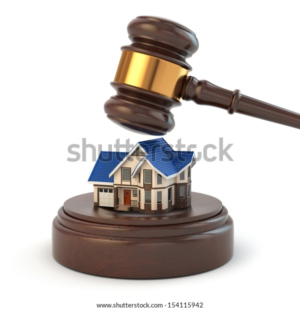 Auction. Gavel, sound block and house. 3d