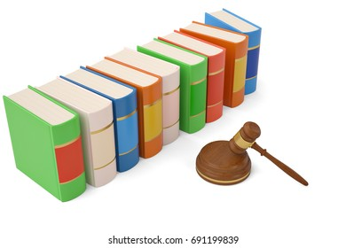 Auction hammer and books on white background.3D illustration.