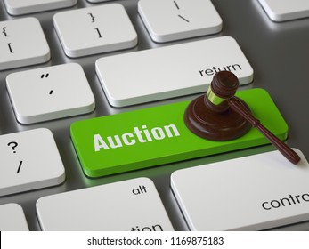 Auction key on the keyboard, 3d rendering,conceptual image.