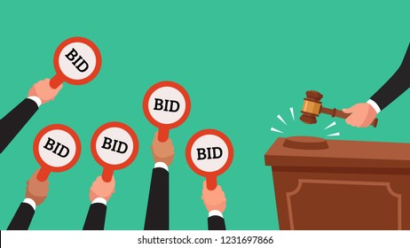 Auctioneer hold gavel in hand. Buyers competitive raising arm holding bid paddles with numbers of price. Auction bidding businessman human trade market colorful  concept flat illustration