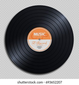 Audio analogue record vinyl vintage disc isolated on transparent background illustration. Audio classic plastic disc for gramophone