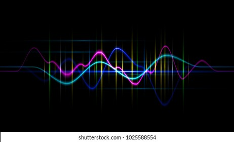 Audio digital equalizer technology, pulse musical.abstract of sound wave , light frequencies or bright equalizer . Neon colorful digital musical bar for technology concept