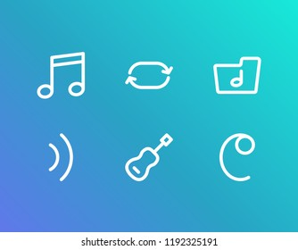 Audio icon set and quaver with common-time sign, wave and music folder. Song dossier related audio icon  for web UI logo design.