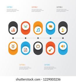 Audio icons flat style set with archive, philharmonic, samba and other audio elements. Isolated  illustration audio icons.