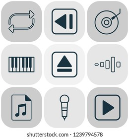 Audio icons set with synthesizer, dj disc, eject button and other document elements. Isolated  illustration audio icons.