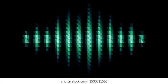Audio or music green shiny sound waveform with triangular light filter with colorful triangles for party poster or medical equipment cover