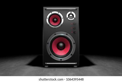 Audio speakers on black background. 3d rendering