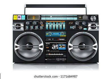 Audio tape recorder, ghetto boombox isolated on white background 3d