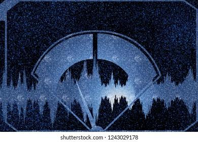 Audio VU meter. Vintage audio amplifier. Decibels gauge. Analog radio tuner. Sound audio waves signals. Voice and music waveforms. Retro technology background