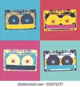 Audiocassette retro popart music seamless background. Audiocassette illustration pop-art seamless pattern. Retro audio cassettes, pop art style, seamless. Vintage styled retro music seamless pattern