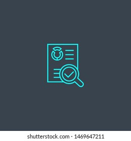 audit concept blue line icon. Simple thin element on dark background. audit concept outline symbol design. Can be used for web and mobile UI/UX