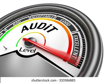 Audit level to maximum conceptual meter, isolated on white background