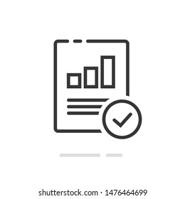 Audit research report icon symbol, line outline art design quality control evaluation pictogram, financial fraud check or tax analysis sign, idea of accounting or statistic document image