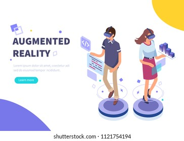 augmented reality concept banner with character. Can use for web banner, infographics, hero images. Flat isometric illustration isolated on white background.