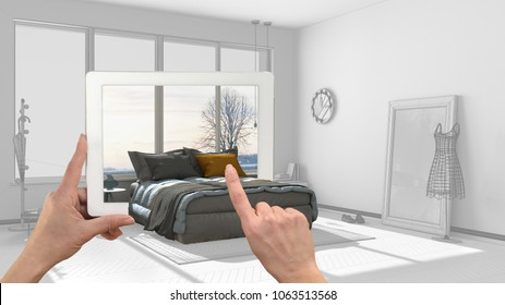 Augmented reality concept. Hand holding tablet with AR application used to simulate furniture and interior design products in real home, 3d illustration