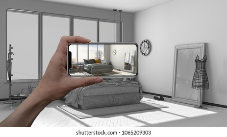 Augmented reality concept. Hand holding smart phone with AR application used to simulate furniture and interior design products in real home, 3d illustration