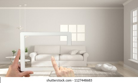 Augmented reality concept. Hand holding tablet with AR application used to simulate furniture and interior design products in real home, modern white living room, 3d illustration