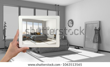 Augmented Reality Concept Hand Holding Tablet Stock Illustration 1063513565 Shutterstock