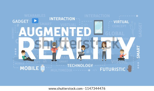Augmented reality concept illustration. Virtual futuristic wearable devices.