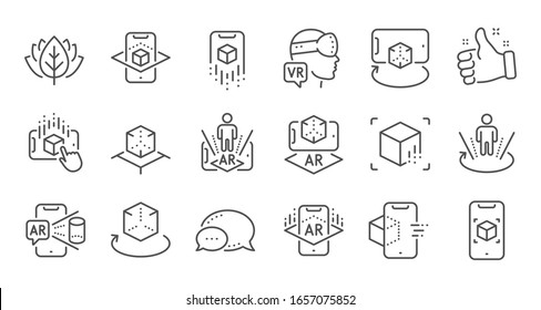 Augmented reality line icons. VR simulation, Panorama view, 360 degrees. Virtual reality gaming, augmented, full rotation arrows icons. Linear set. Quality line set.