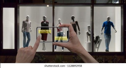 Augmented reality marketing concept. Hand holding digital tablet smart phone use AR application to check special sale price in retail fashion shop, mall interior design, 3d illustration