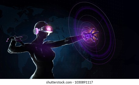 augmented reality science, future technology and people concept - female cyborg robot in futuristic VR gear with virual charts projection over black background 3d render