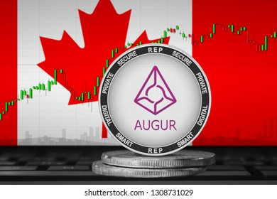 Augur Canada; Augur (REP) coin on the background of the flag of Canada. 3d illustration