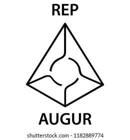 Augur Coin cryptocurrency blockchain icon. Virtual electronic, internet money or cryptocoin symbol, logo