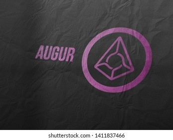 Augur coins (REP) cryptocurrency and modern banking concept. Photo realistic appearance style rendering.